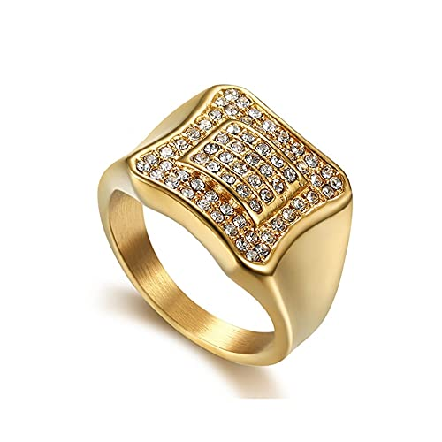 Anillo de acero inoxidable Hip Hop con diamantes de imitación, sencillo, cuadrado, para hombre, acero de titanio, anillos de cristal Hiphop, regalo de joyería para él, 8 oro