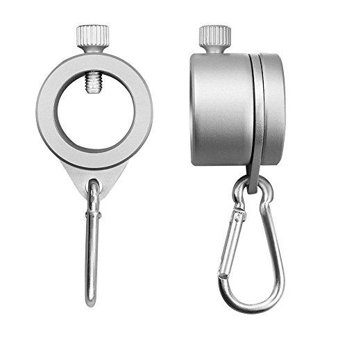 xiegons0 Aluminium Fahnenmast Halterung Ringe - 2pcs 360° Gratis Drehender Anti Wrap Fahnenmast Ringe Drehbar Halterung Ringe mit Karabiner für 0.75-1.02 Zoll Durchmesser Flagge Stange
