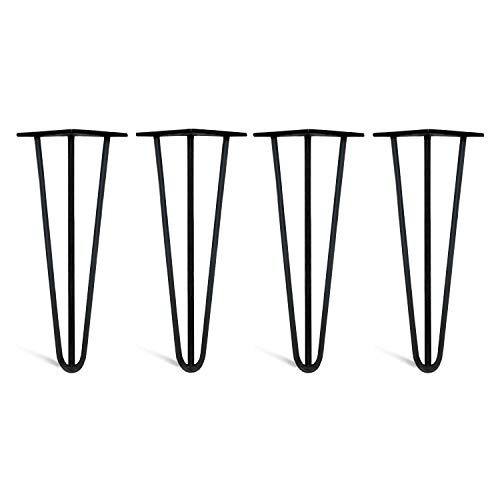 4 x Hairpin Legs from DT IRONCRAFT - 35cm 3 Rod / 10mm, Black - Coffee Table, Side Table Legs with Floor Protector Feet & Screws