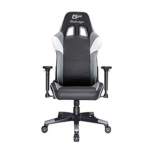 VICTORAGE Gaming Chair GP Series- Professional & Textured- Gaming/Streaming - Long time Sitting- Inspired by Racing car- Ergonomic Design- Rocking Function (Grey)