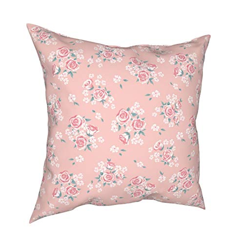 iksrgfvb Throw Pillow Case Fundas de cojín Pink Rose Cartoon geométrica Retro Fundas de Almohada cuadradas para Sala de Estar Sofá 18 x 18 Pulgadas