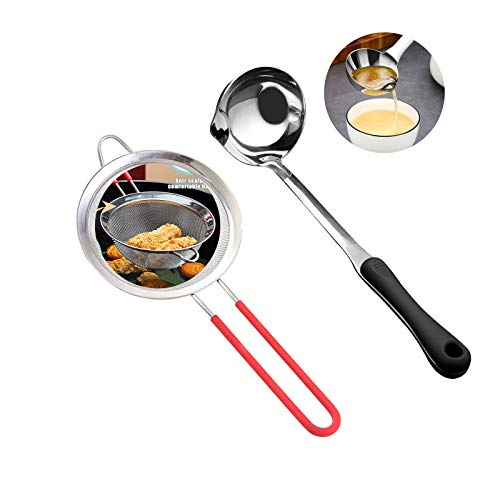 Fantakit 2 Set of Stainless Steel Mesh Food Juice Skimmer Strainer Ladle for Home Kitchen Soup Oil Separation Skimmer Slotted Spoon