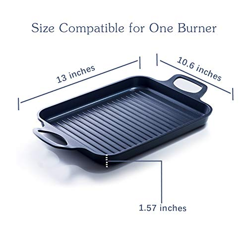 S·KITCHN Grill Pan Griddle Grill with Dual handles, Stove Top Grill Induction Griddle, Square Indoor Grilling Pan