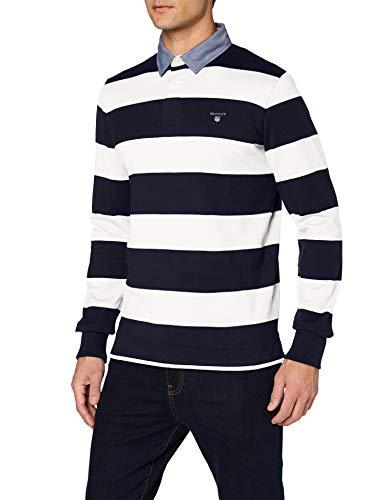 GANT Herren ORIGINAL Barstripe Heavy Rugger Poloshirt, Elfenbein (Eggshell 113), Large (Herstellergröße: L)