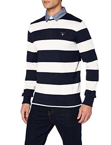 GANT Herren ORIGINAL Barstripe Heavy Rugger Poloshirt, Elfenbein (Eggshell 113), (Herstellergröße: XX-Large)