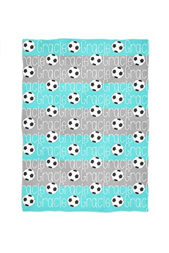 Soccer Personalized Throw Blanket Stripes and Name Pattern