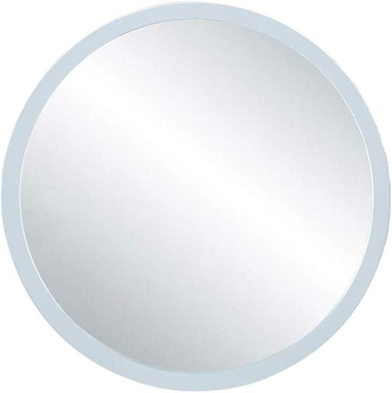 POLKMN Wandspiegel Groes rundes Holzrahmen-Glasscheiben-Schlafzimmer, das Spiegel-Badezimmer-Wohnzimmer rasiert (Farbe   Wei, gre   50 cm)