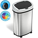 SensorCan 13 Gallon Sensor Trash Can with Wheels and AbsorbX Odor Control System, Stainless Steel, Oval Shape Automatic Kitchen and Office Garbage Bin (Powered by Battery or Optional AC Adapter)