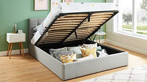 HOMIFAB Lit Coffre 160x200 Gris Clair avec tête de lit + sommier à Lattes relevable - Collection Tommy