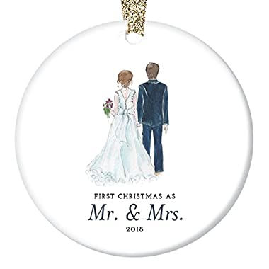 Bride & Groom Ornament 2018, First Christmas as Mr. & Mrs. Ornament, First Married Christmas, Wedding Gift 3  Flat Circle Porcelain Ornament w Glossy Glaze, Gold Ribbon & Gift Box | OR00314 Taylor