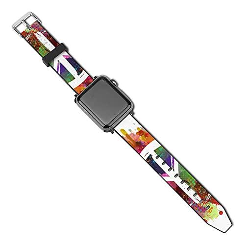 Símbolo White Peace Hippie en colorido Compatible con Apple Watch Band 38 mm 40 mm Correa de repuesto de cuero Correa de moda Compatible con iWatch Series 5 4 3 2 1