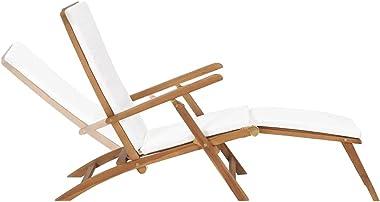 vidaXL Solid Teak Wood Deck Chair with Cushion Outdoor Patio Balcony Backyard Terrace Garden Lounge Seating Sunlounger Foldin