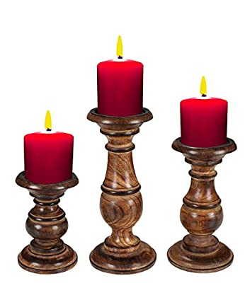 Hand Crafted Wooden Pillar Candle Holders Set of 3 , Ideal for LED and Pillar Candles, Gifts for Wedding, Party, Home, Spa, Reiki, Aromatherapy, Votive Candle Gardens - 10, 8, 6 Inch - Burnt from Light & Pro