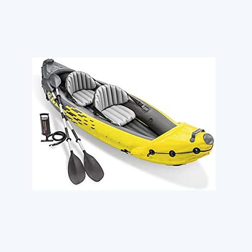 WBJLG Kayak, Juego de Kayak Grueso, Bote de Aire de Remo Inflable Doble, con remos de Aluminio y Bomba de Aire de Alto Rendimiento, Herramienta de Buceo a la Deriva para Pesca