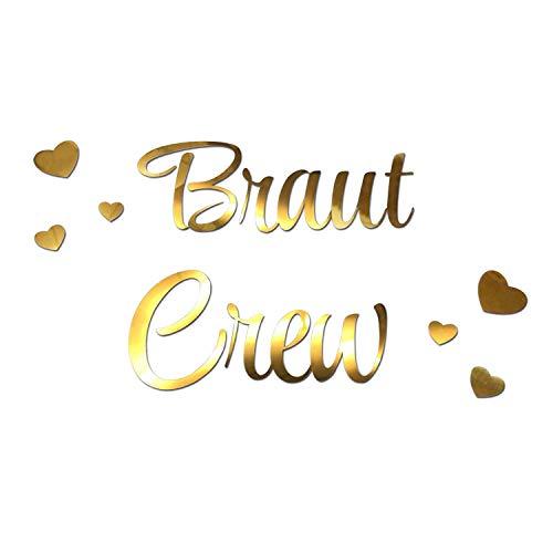 Oblique Unique® Bügelbild für JGA Junggesellinnenabschied Hochzeit - Braut to Be - Team Braut - Braut Crew + Herzen Bilder zum Aufbügeln - Motiv wählbar (Braut Crew)