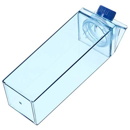 Uonlytech 500Ml Botella de Agua de Cartón de Leche Transparente Deportes Gimnasio Botella de Agua Motivacional Botella de Leche Cuadrada Caja de Jugo de Plástico Botella Portátil para Wate