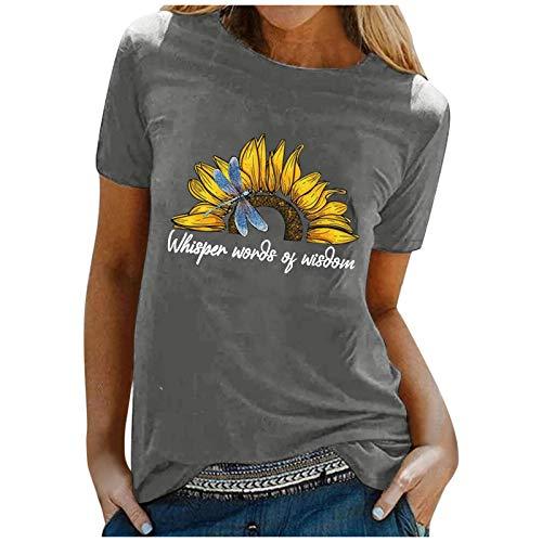 YCZCO Camiseta de manga corta para mujer, diseño de diente de león y flores, manga corta, estilo informal, estampado asimétrico Camiseta Mujer 10 S