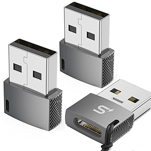 Stouchi USB C Buchse auf USB Stecker Adapter 3-Stück,Typ C auf A Ladekabel Adapter Kompatibel für Samsung Galaxy Note 20 S21 FE Plus,Google Pixel
