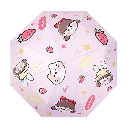 Qiujing 3/5 UV plegable paraguas viaje sol lluvia protección paraguas portátil a prueba de viento mujer niñas sombrilla regalo niño paraguas