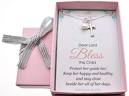 Cross Necklace Sterling Silver | Handcrafted 14 Inch Box Charm Chain Jewelry | Great for First Birthday, Christmas or Easter | Wonderful Baptism Gift for Girl