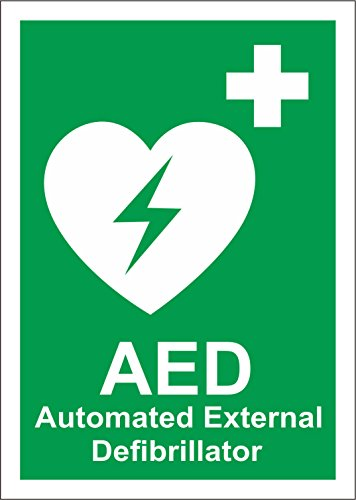 INDIGOS UG - Aufkleber - Sicherheit - Warnung - Automated External Defibrillator - Self Adhesive Label 200mm x 150mm