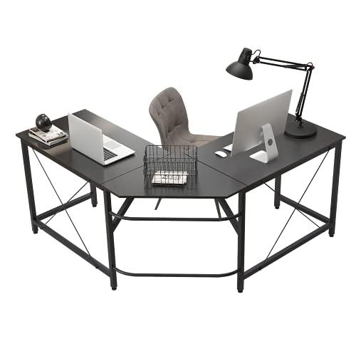 soges Eckschreibtisch Computertisch Gaming Tisch Mit L-Form Winkelschreibtisch großer Gaming Schreibtisch Bürotisch Ecktisch Arbeitstisch PC Laptop Studie Tisch,150 cm + 150 cm,Dunkel Braun