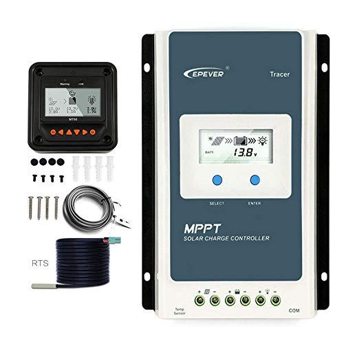 EPEVER Tracer 1210 AN MPPT Solar Laderegler 12V 24V DC Automatische Identifizierung mit LCD-Display Hintergrundbeleuchtung Negativerdung 10A (1210AN+MT50+TS-R)