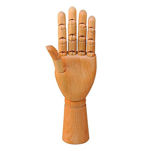 Wooden left hand manikin male - sectioned full hand artist mannequin -...