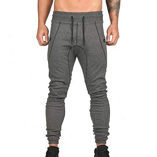 Heren Trainingsbroek Trendy Skinny Sport Pencil Jogger Heren Casual Joggingbroek Male Zipper Pockets Gym M. Diep grijs.
