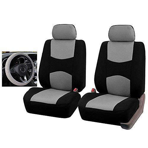 Coprisedili per Auto Aggiungi la copertura del volante, per Dodge Caliber Caravan Journey Nitro Ram 1500 Intrepid Stratus 2005 2004 2003 2002 (Gray Black,5 sets)