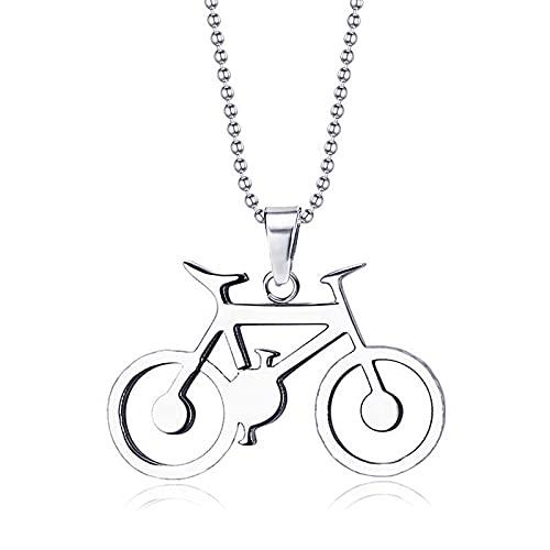 Inveroo Colgante De Bicicleta Deportiva Collar De Cadena De Acero Inoxidable Ghost Rider para Hombre Rock Punk Collares Colgantes Encanto 23 Pulgadas