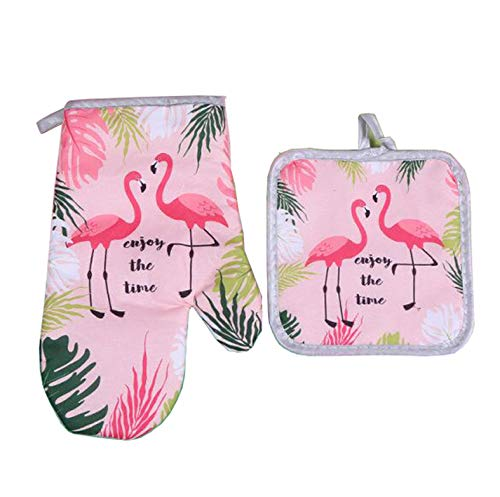 Sohapy Oven Mitt & Potholders Set Kitchen Heat Resistant and Machine Washable for Cooking Baking Grilling and BBQ Decorative (Pink)