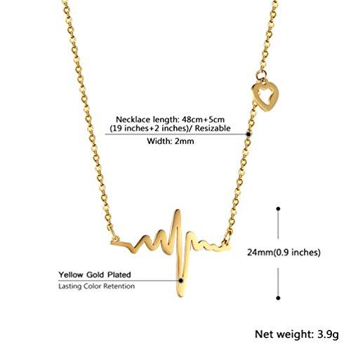 Collier Battement de coeur tour de cou pour femmes bijoux délicats en acier inoxydable 316L plaqué or ECG - 1