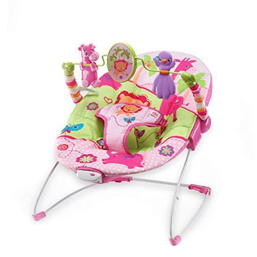 Baby Swing Bouncer Rocker Chair Newborn Bodyguard Fit The Back Curve Design Extraíble Toy-Lavable en la Almohadilla del Asiento Fácil de Montar,Rosado