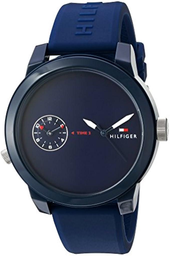 Tommy Hilfiger Men's Plastic and Rubber Casual Watch Quartz Strap, Blue (Model: 1791325)
