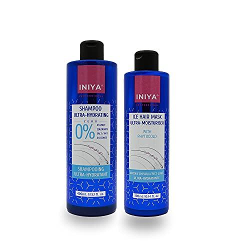 Shampooing & Soin Hydratant Sans Sulfate ni Silicone   Iniya Duo Kit Hydratation   Shampooing et Masque Lissage Brésilien - Tanin (400ml x2)