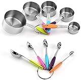 10 piezas de taza medidora y cuchara de acero inoxidable 18/8 (304), 5 tazas medidoras y 5 cucharas medidoras con conector de anillo.