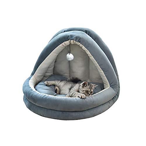 Suave terciopelo gato iglú cama cueva mascota para gatos/gatito/perros pequeños cómodo azul marino 44x38x38cm