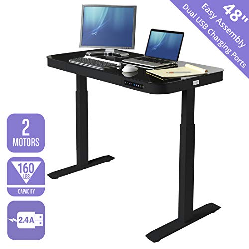 Seville Classics Airlift Tempered Glass Electric Standing Desk with Drawer, 2.4A USB Ports, 3 Memory Buttons (Max. Height 47') Dual Motors, Black Top