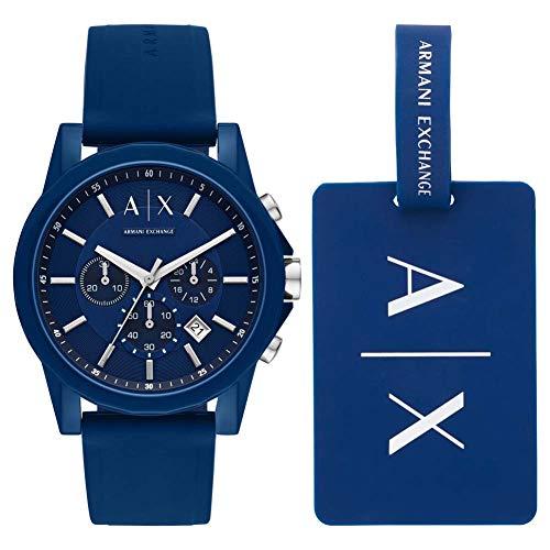 Armani Exchange Reloj Cronógrafo para Hombre de Cuarzo con Correa en Silicona AX7107