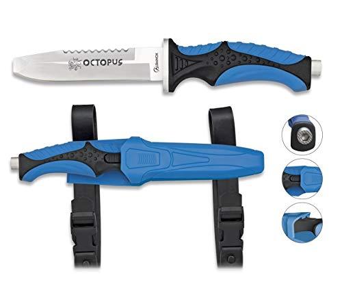 Albainox 32332. Cuchillo Submarinismo Octopus Azul. Mango ABS y Goma. Herramienta para Caza, Pesca, Camping, Outdoor, Supervivencia y Bushcraft