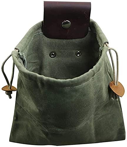 Bolsas de lona para senderismo, bolsas de lona para manualidades, bolsas de comida para exteriores, fáciles de envolver para el cinturón, bolsas plegables de lona para senderismo., verde,