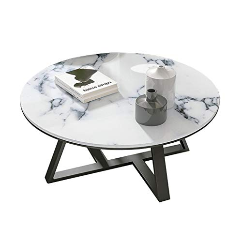 Round Modern Coffee Table for Living Room, White Faux Marble/Black, 60/70/80×45cm