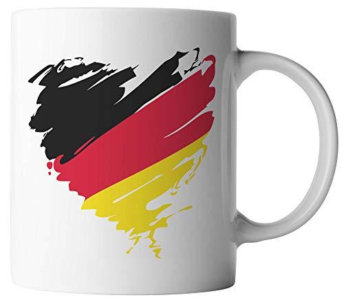 vanVerden Tasse - Deutschland Herz - beidseitig Bedruckt - Geschenk Kaffeetassen, Tassenfarbe:Weiß