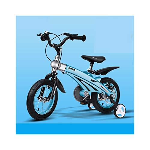 Kinder Fahrrad-Stahlrahmen Kinderfahrrad 12-16 Zoll mit Stützrad (Geeignet for Kinder von 2 bis 11 Jahre alt)-Gold/Blau/Gelb (Color : 2, Size : 14in)