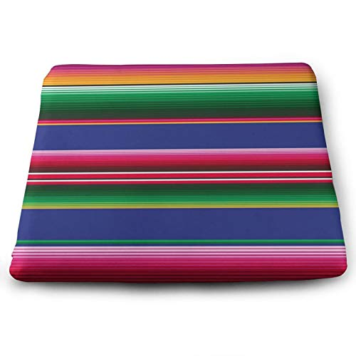 NiYoung Novel Colorful Mexican Blanket Stripes Seat Cushion Non Skid Square Multi-Function Chair Cushion Lumbar Pillow for Back Pain Fashion Chair Pad