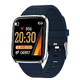 Wsaman Pulsera De Actividad Inteligente Impermeable IP67, Podómetro Pulsera Inteligente con Pulsómetro Blood Pressure Sueño para Android e iOS,Azul