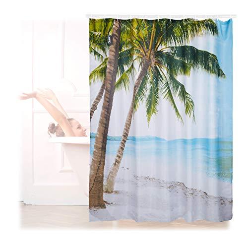 Relaxdays Duschvorhang Strand, Polyester, wasserabweisend, waschbar, Anti-Schimmel, Badewannenvorhang 180x180cm, bunt