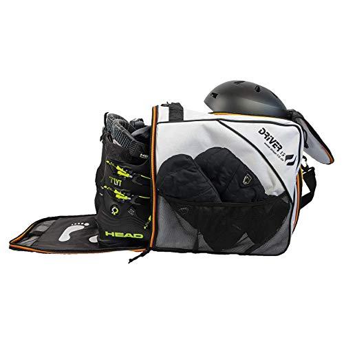 Driver13 ® Skischuhtasche Skistiefeltasche mit Helmfach für Hart Softboots Inliner und Bootbag Tasche weiß (Germany Edition)