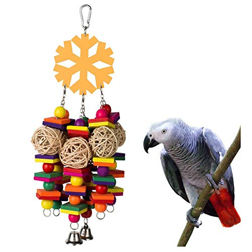 Coppthinktu Bird Toys, Parrot Toys with Bells, Parrots Cage Chewing Toy with Colorful Wood Beads, Multicolored Wooden Block Bite Toys for Macaw African Grey Cockatoo and a Variety of Amazon Parrots
